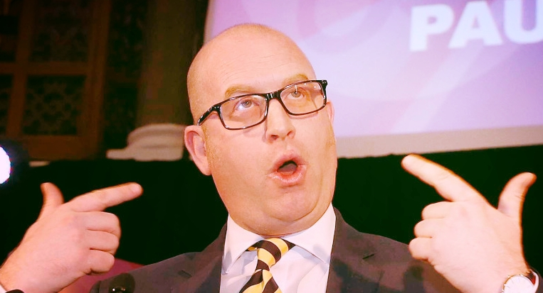 Paul Nuttal pointing to where the lies come out.