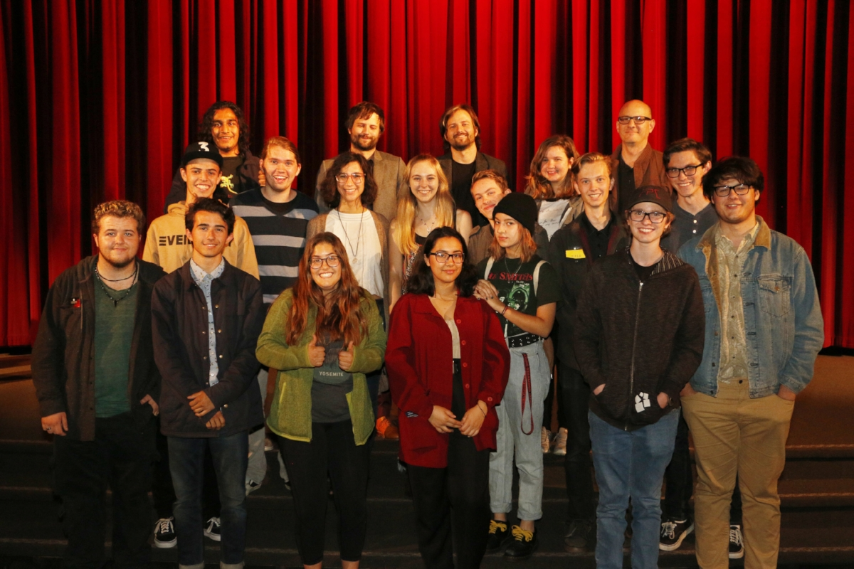 The Film and Television Conservatory poses with the Duffer brothers.    Photo courtesy of: Aaron Orulian