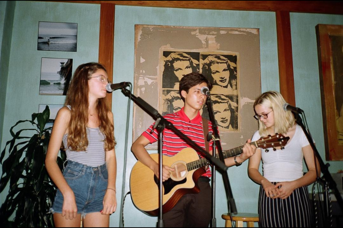SunStripes Band  Left to Right: Alix Page, Samuel Victoria, and Ellie Williams   Photo Courtesy of: SunStripes Band