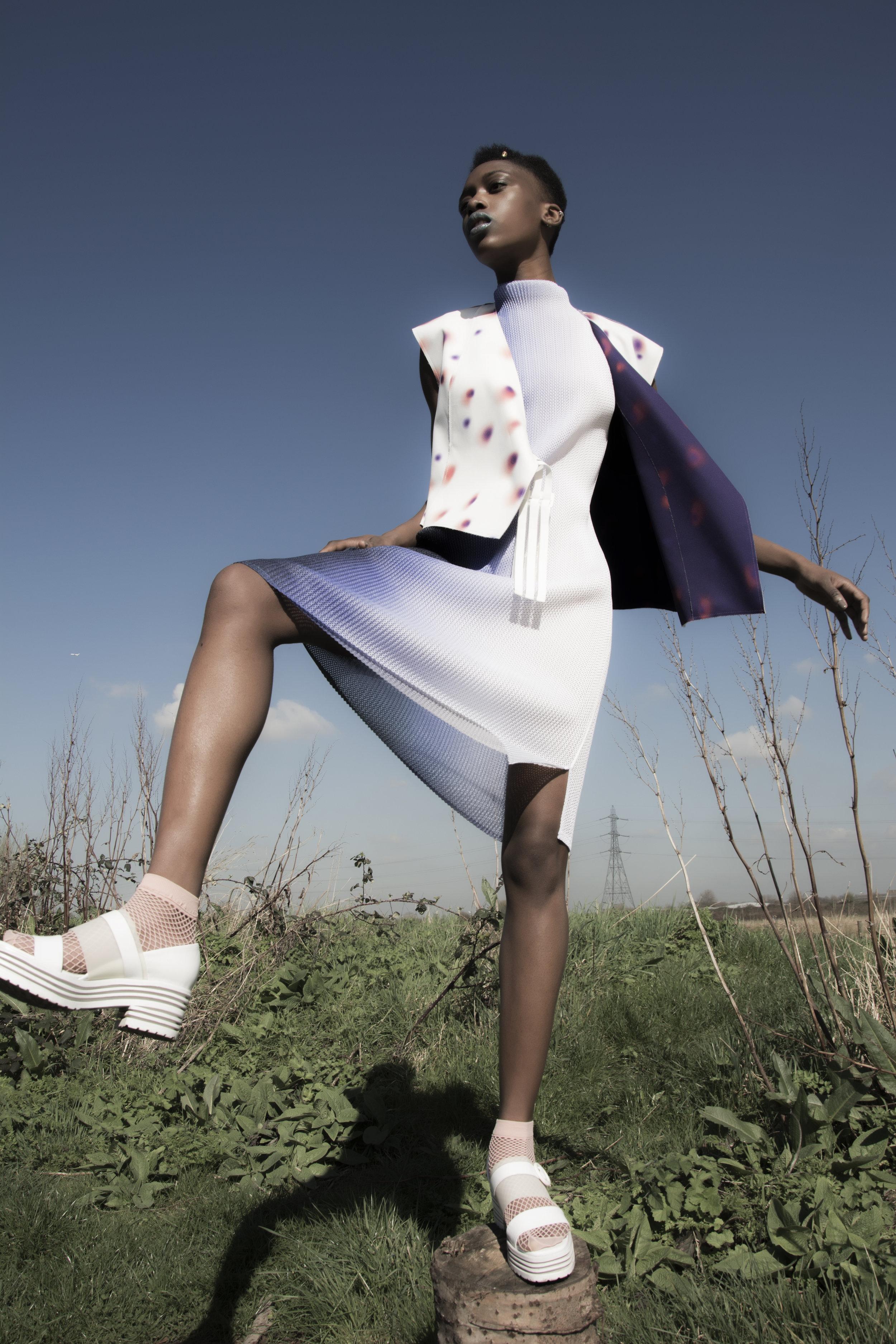 Dress : Kitty Joseph  Vest : Min Wu  Shoes : Min Wu