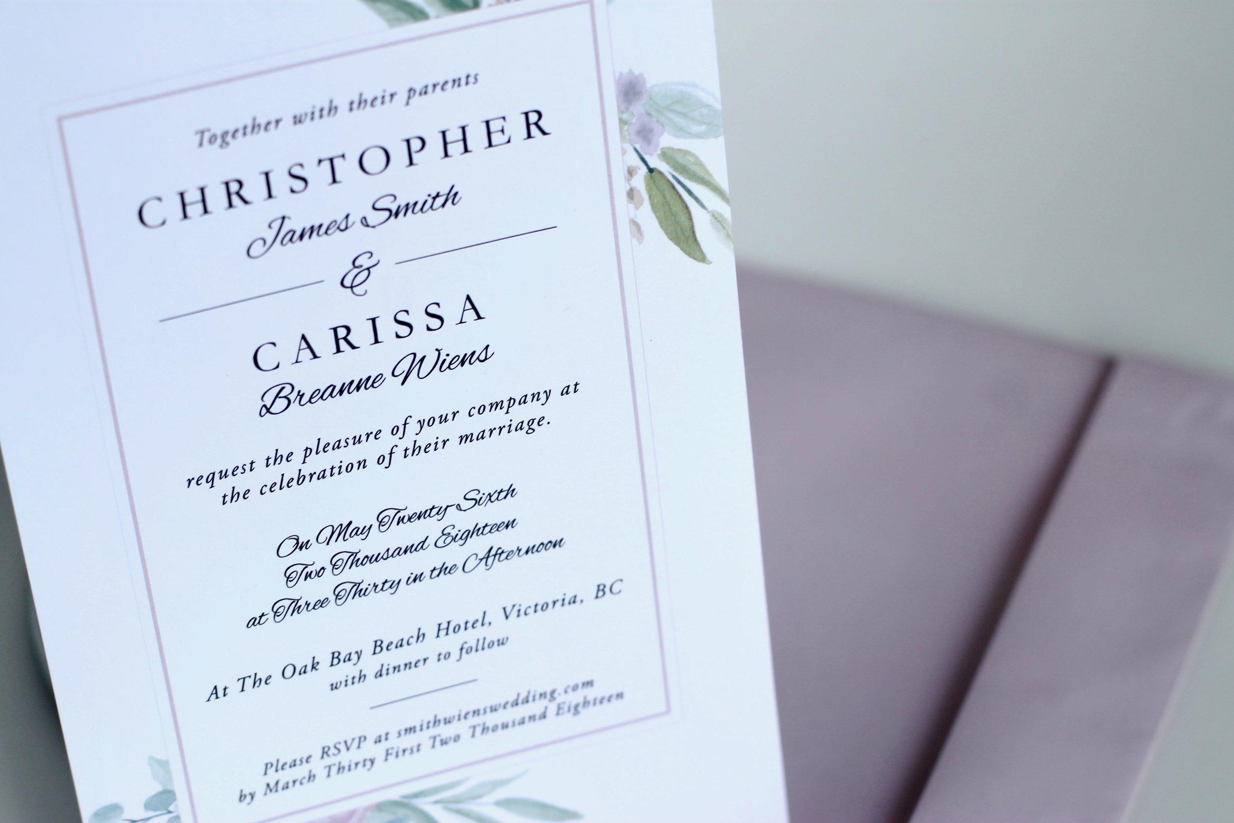 Chris & Carissa's Wedding Invite, 2017