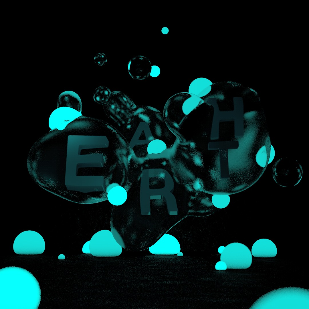 Metaballs contain each letter, illuminated by glowing spheres.