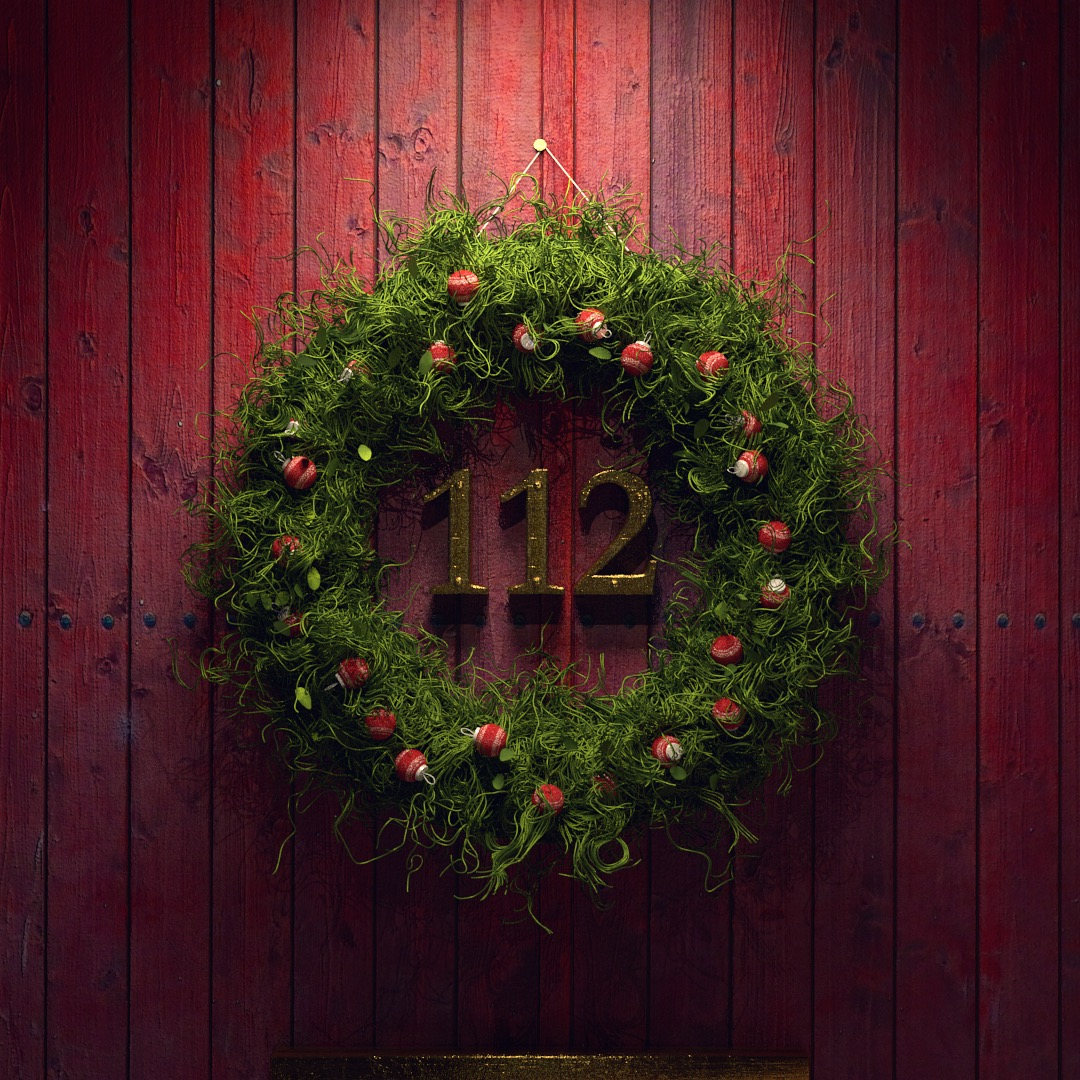 A render which uses xParticles and realistic wood textures to make a Christmas wreath.
