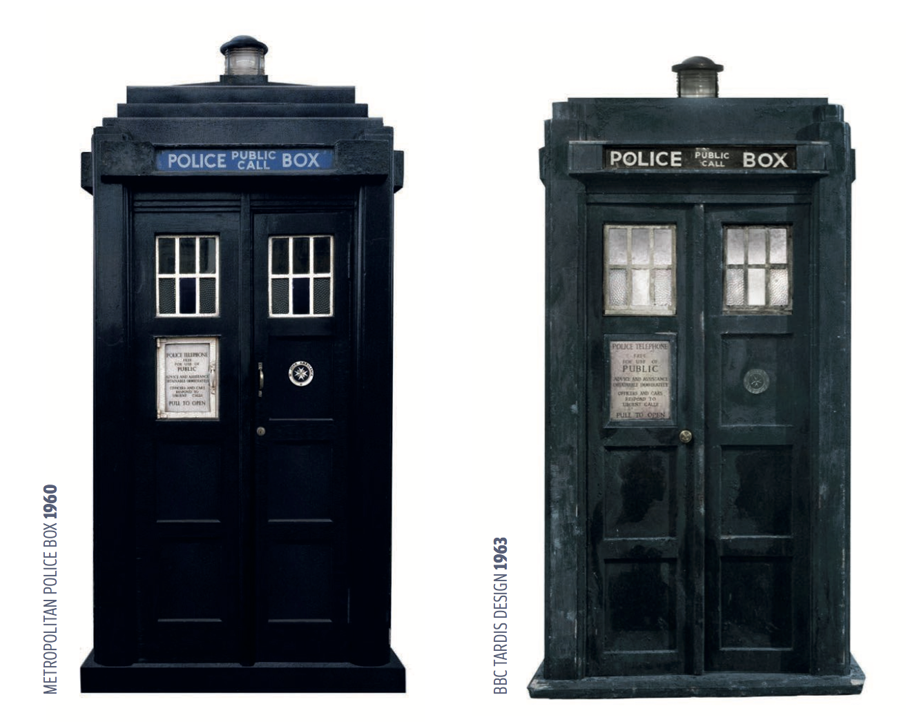 Reference images of preferred classic police box designs.