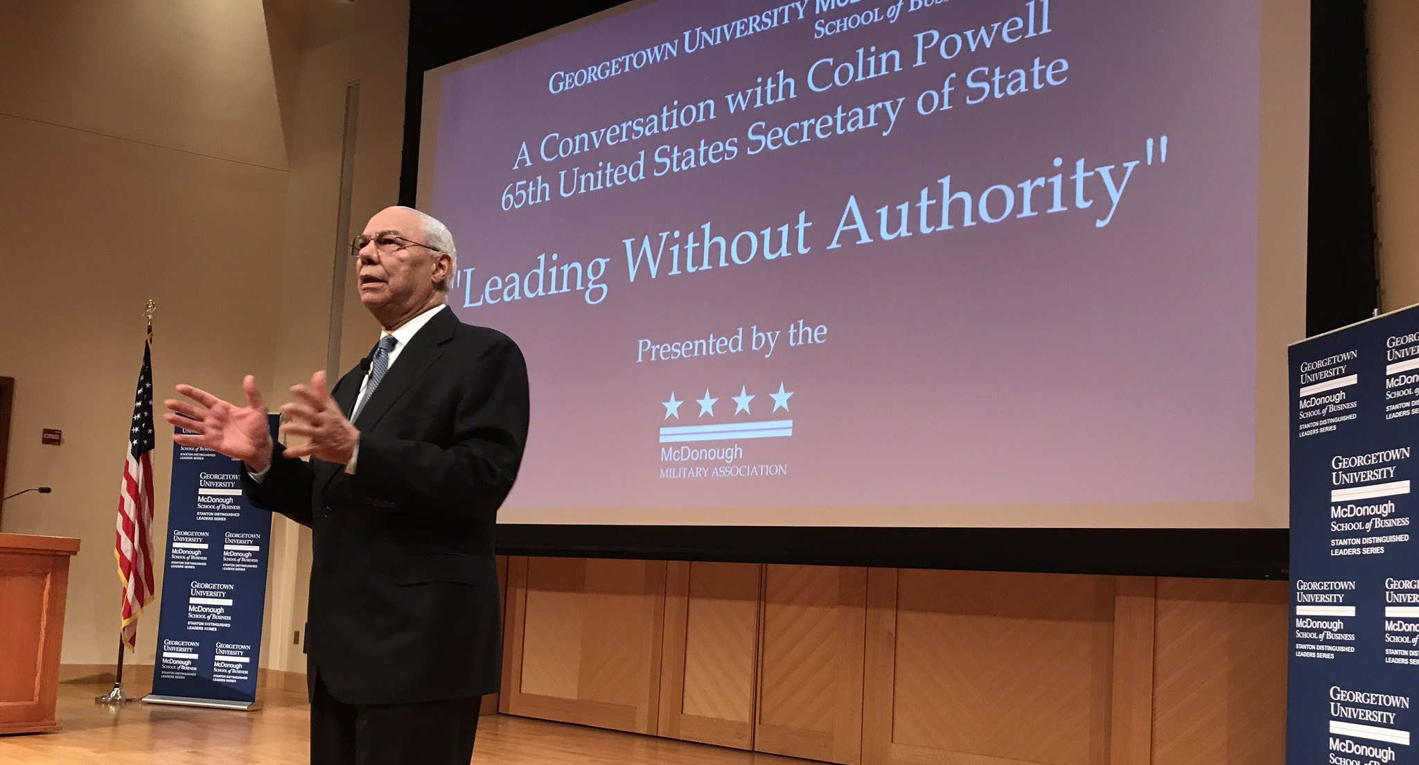 """Colin Powell, former secretary of state under President George W. Bush, said the United States will """"come through"""" its struggle to fully accept immigrants in a speech Wednesday.  Repost from  http://www.thehoya.com/colin-powell-nation-will-overcome-hostility-toward-immigrants/"""