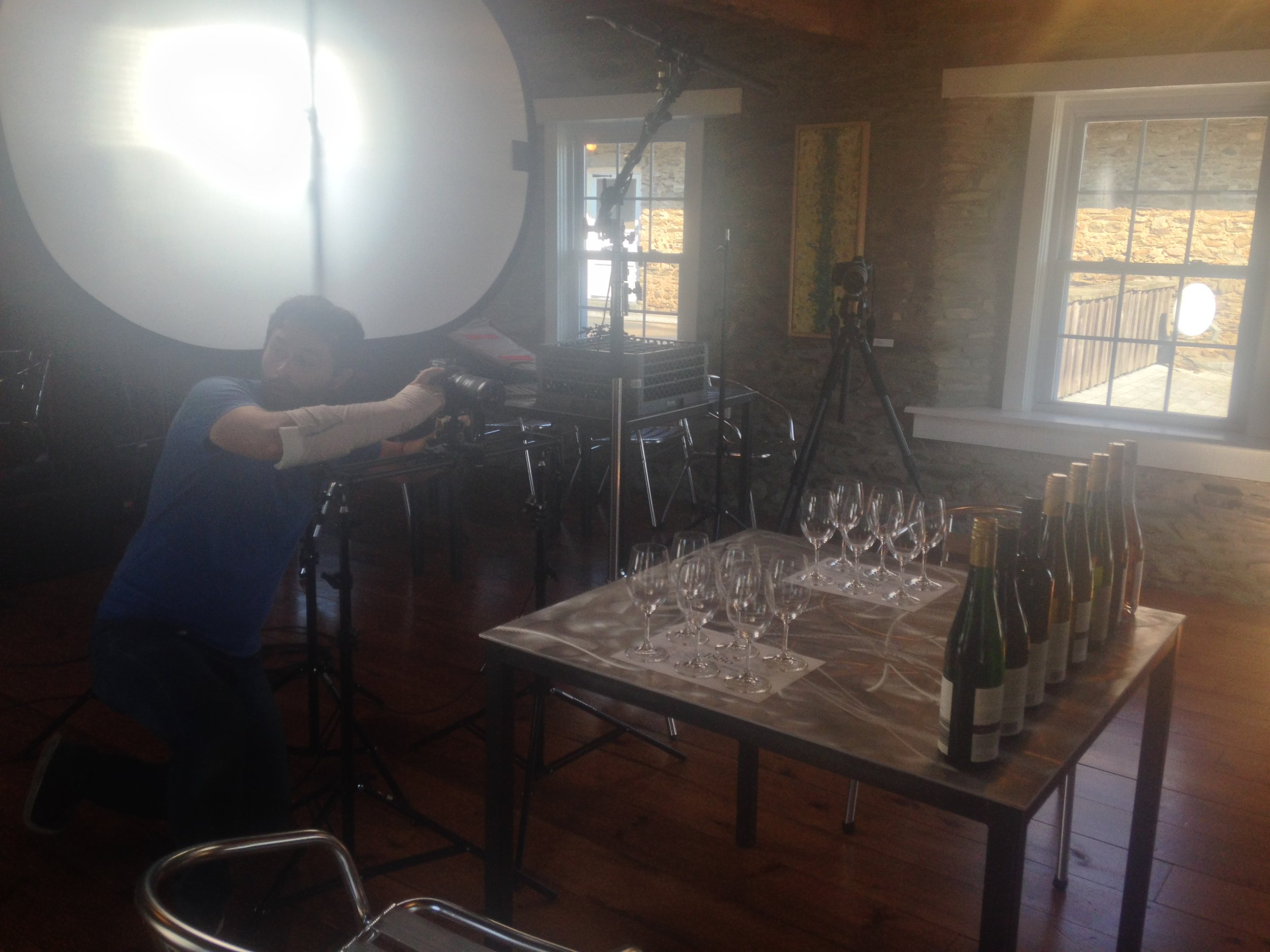 Prepping a scene in the 1886 Reserve Tasting Room at Dr. Konstantin Frank Wine Cellars.