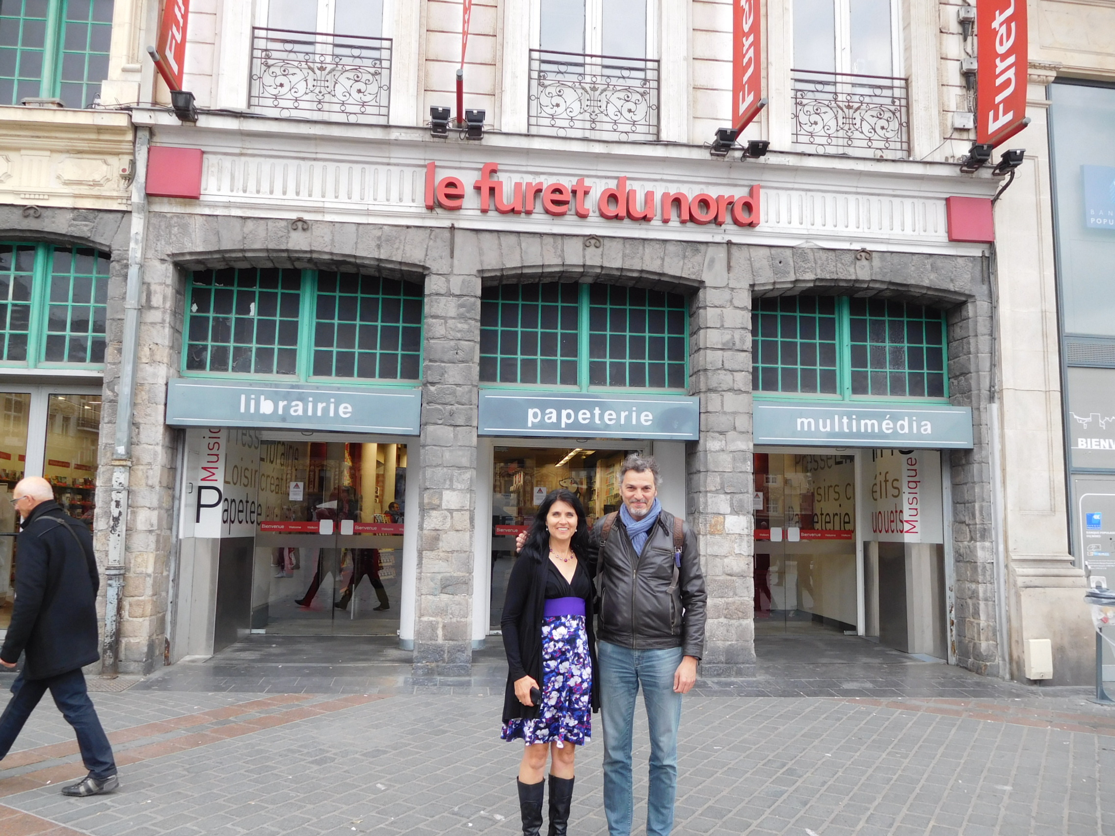 Outside le Furet du Nord with Jean-Francois from the bookstore who was wonderfully helpful.
