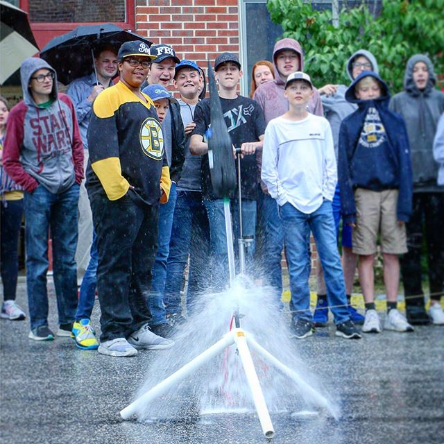 Eighth grade students from Jaffrey-Rindge Middle School launched their bottle rockets into the sky on Thursday - the culmination of a two-week, cross-curricular project.  #jaffrey #rindge #jaffreyrindge #sau47 #bottlerocket #classproject #middleschool #jrms