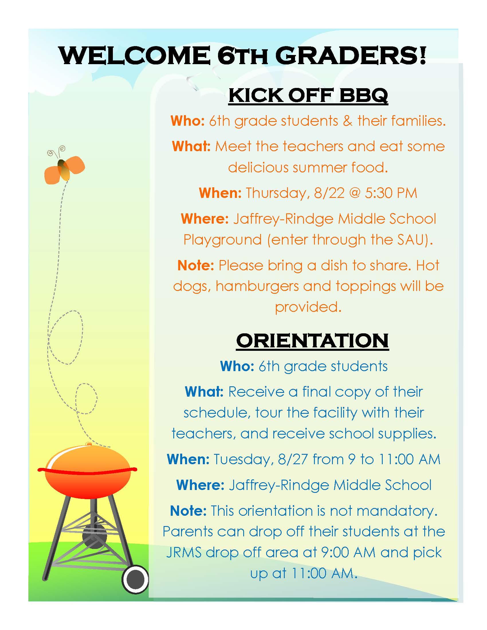Sixth Grade BBQ and Orientation — SAU47 Web