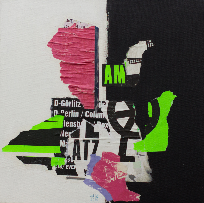 In Kreuzberg gerissen und geklebt 2 , 2010,Collage auf Leinwand mit Acryl, 40x40 cm