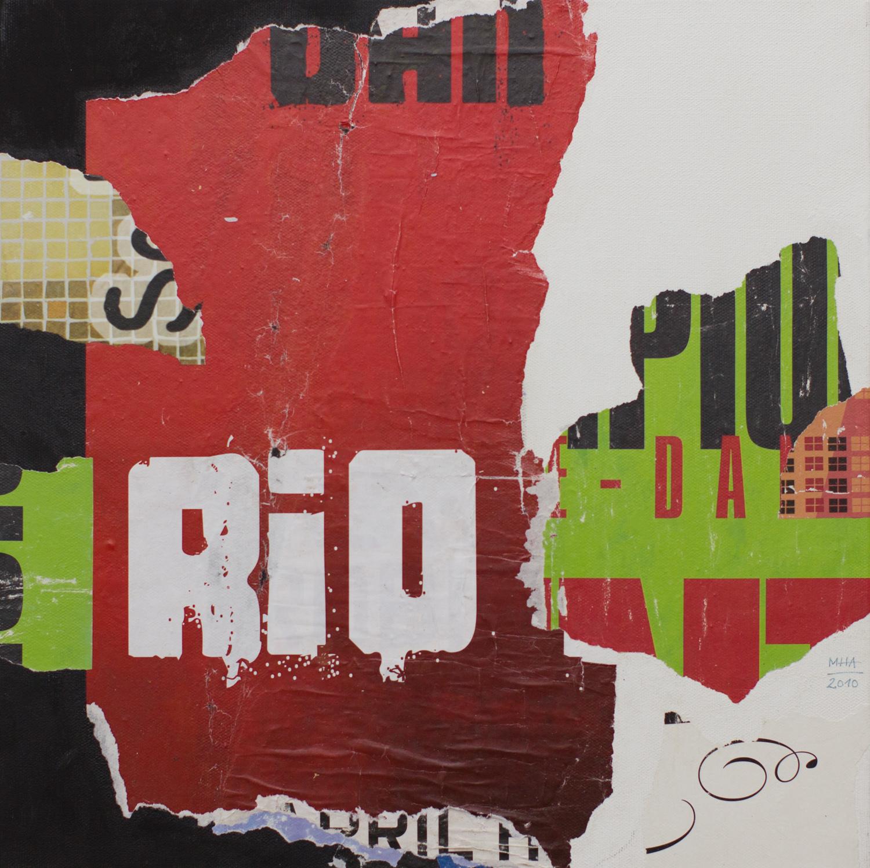 In Kreuzberg gerissen und geklebt 3 , 2010,Collage auf Leinwand mit Acryl, 40x40 cm