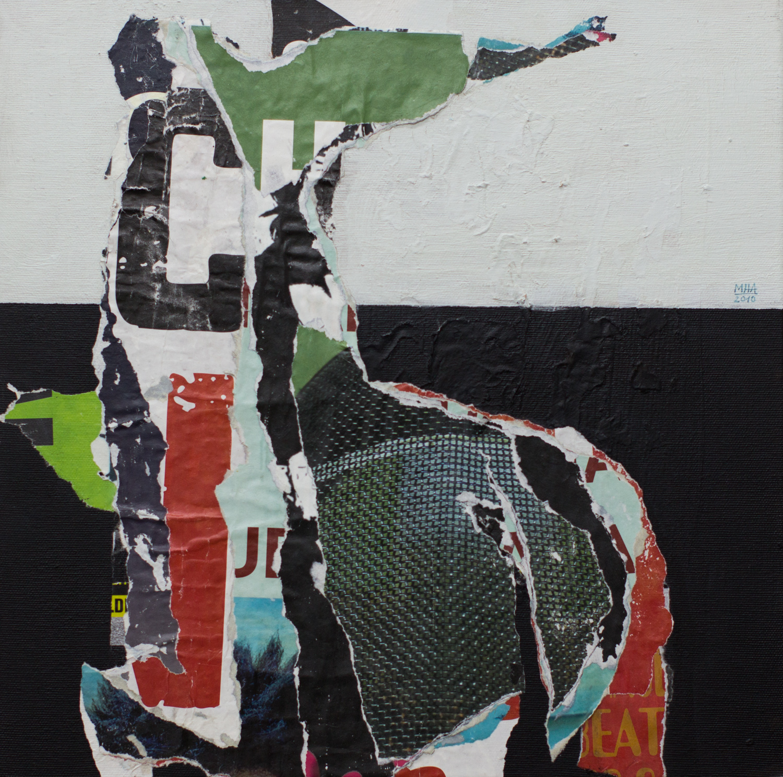 In Kreuzberg gerissen und geklebt 13 , 2010,Collage auf Leinwand mit Acryl, 40x40 cm