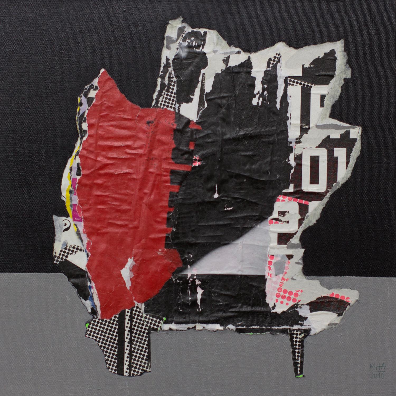 In Kreuzberg gerissen und geklebt 1 , 2010,Collage auf Leinwand mit Acryl, 40x40 cm