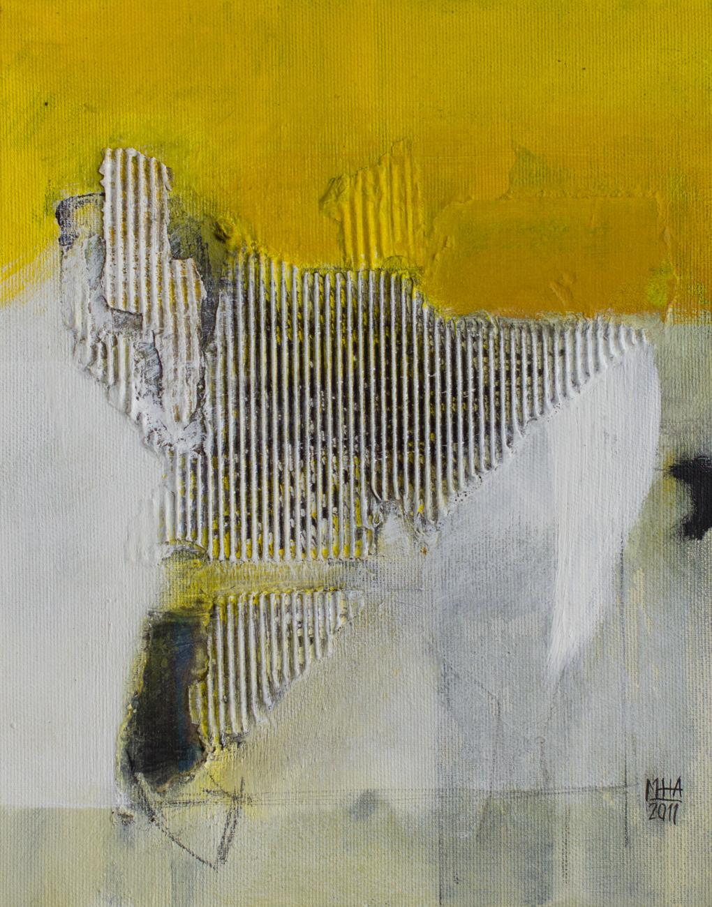 gelbes Bild B , 2011,Collage mit Acryl auf Leinwand, 24x30 cm