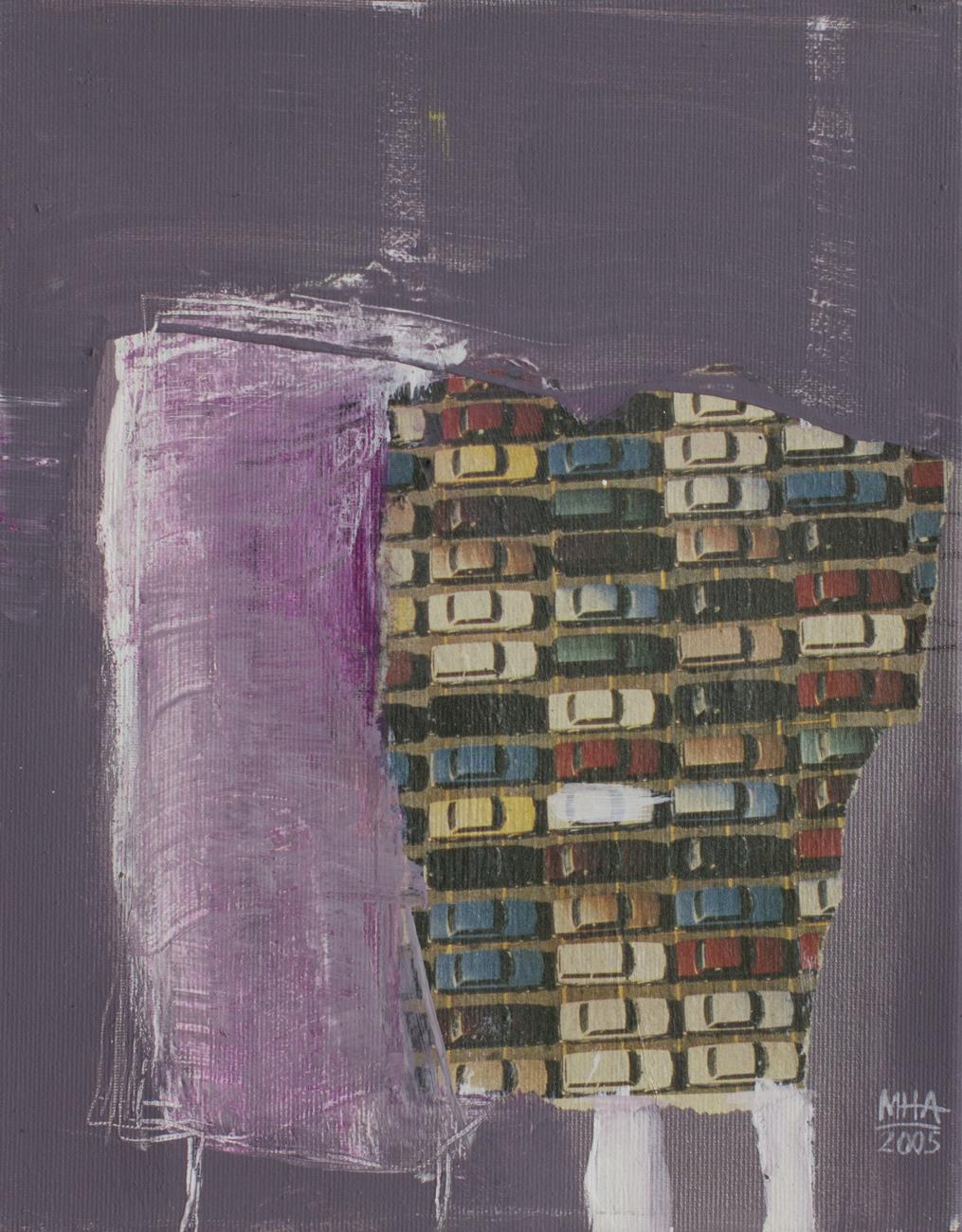 zweimal , 2005,Collage mit Acryl auf Leinwand, 24x30 cm