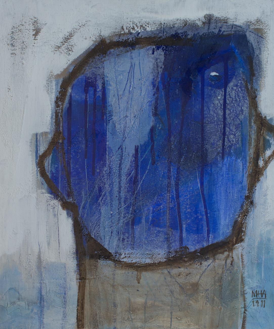 blauer Kopf   , 2011 , Acryl auf Leinwand - Mischtechnik, 50x60 cm