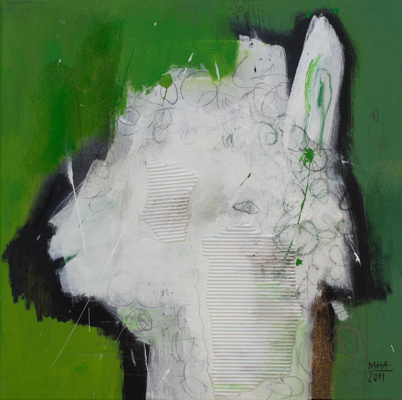 Kopf Nr. 9   , 2011, Acryl auf Leinwand – Mischtechnik , 40x40 cm
