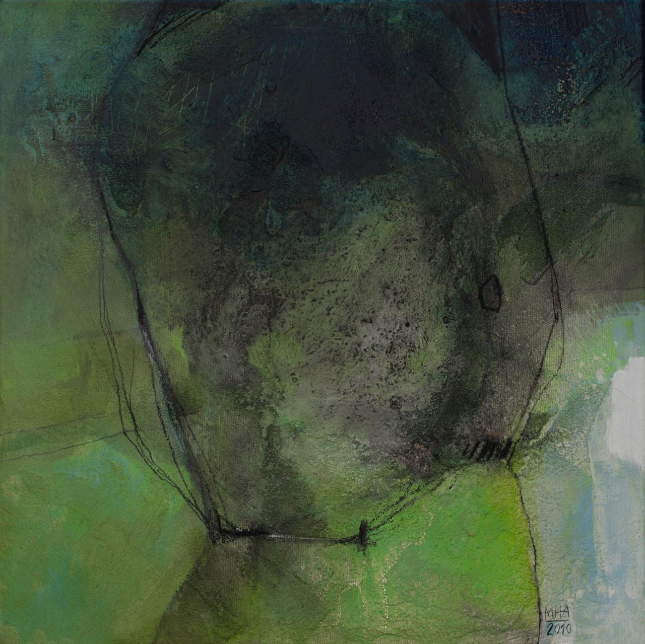 Kopf Nr. 1  ,  2011, Acryl auf Leinwand – Mischtechnik , 40x40 cm