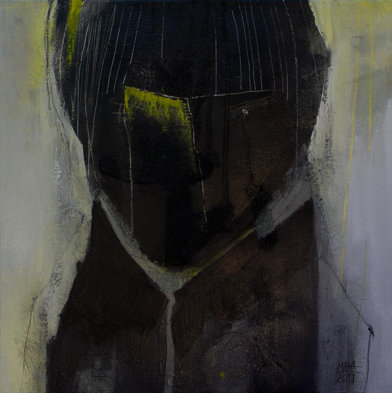 Kopf Nr. 5  ,  2011, Acryl auf Leinwand – Mischtechnik , 40x40 cm