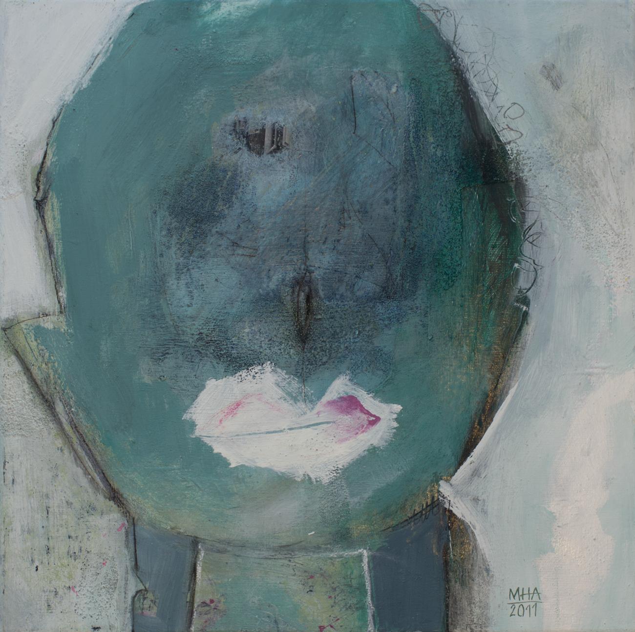 Kopf Nr. 6   , 2011, Acryl auf Leinwand – Mischtechnik , 40x40 cm