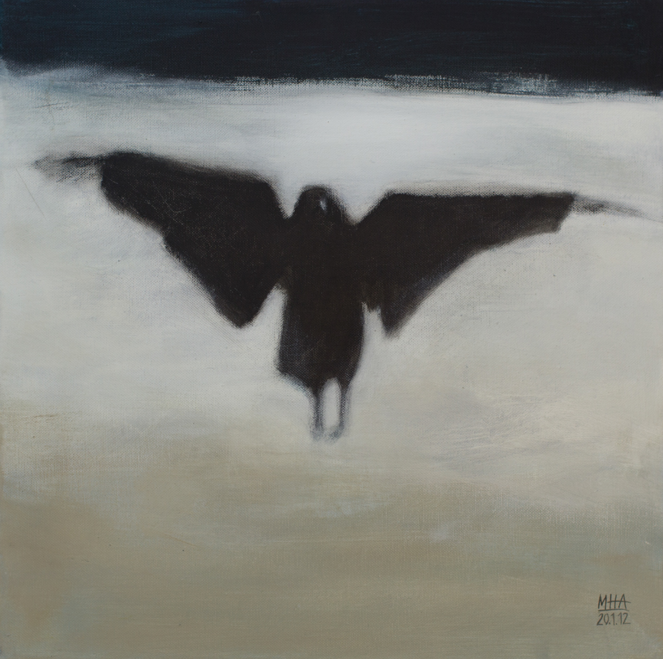 Krähe 3 , 2012,Acryl auf Leinwand, 40x40 cm