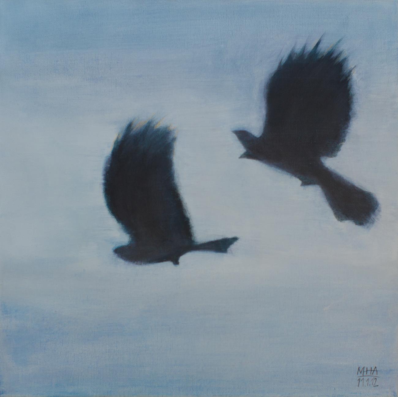 Krähe 8 , 2012,Acryl auf Leinwand, 40x40 cm