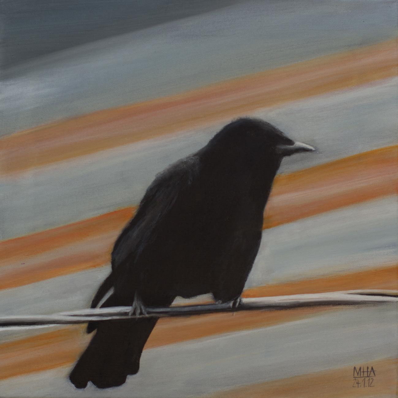 Krähe 6 , 2012,Acryl auf Leinwand, 40x40 cm