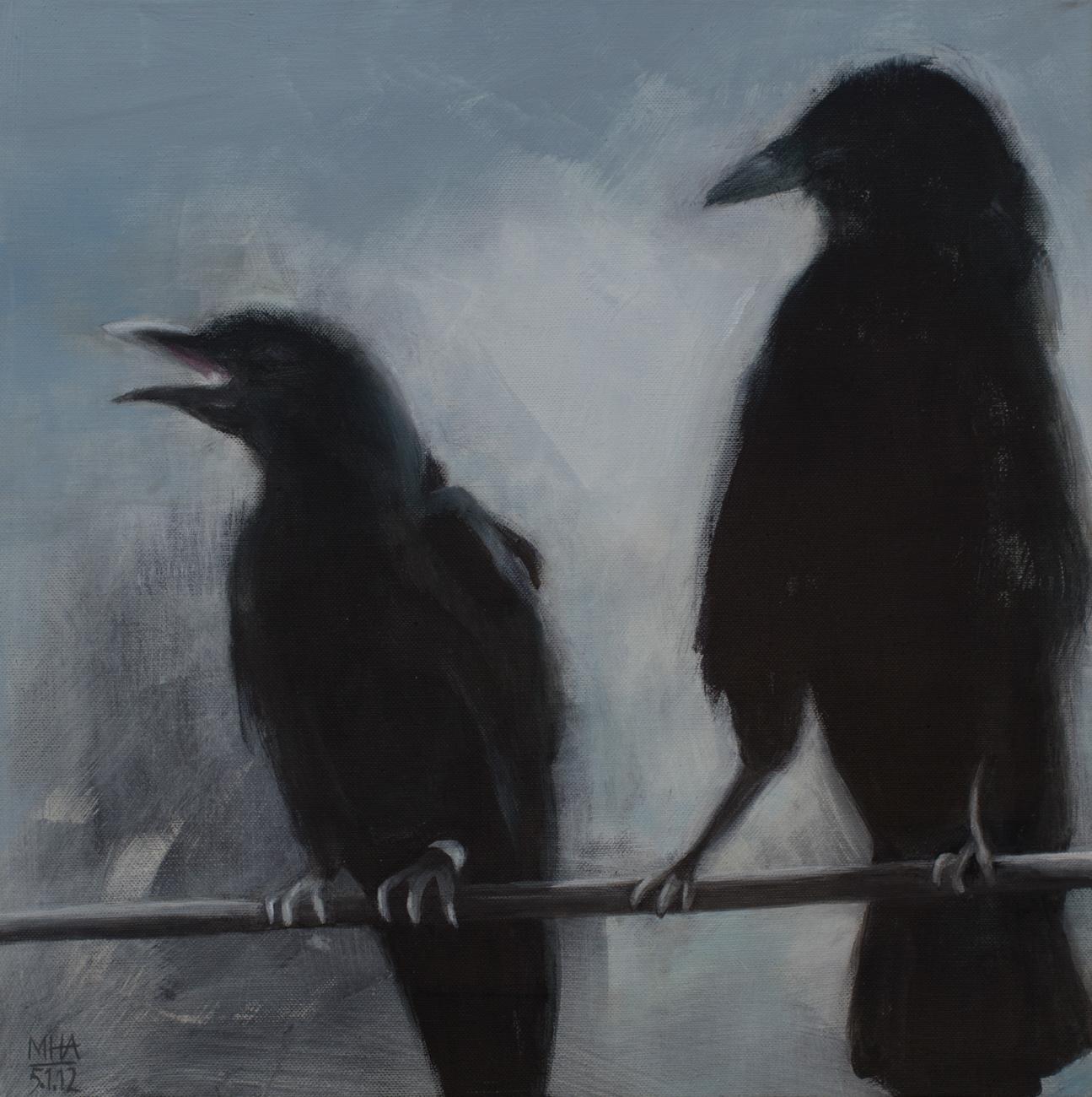 Krähe 2 , 2012,Acryl auf Leinwand, 40x40 cm