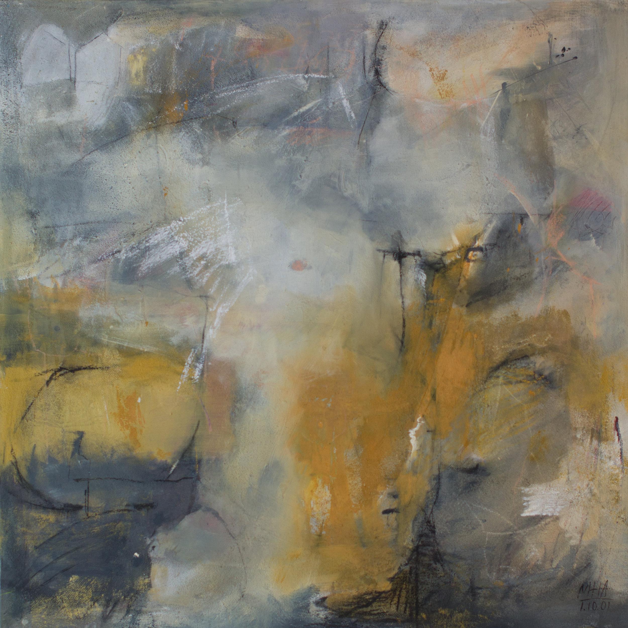 mit Flügel ,2001,Acryl auf Leinwand - Mischtechnik, 100x100 cm