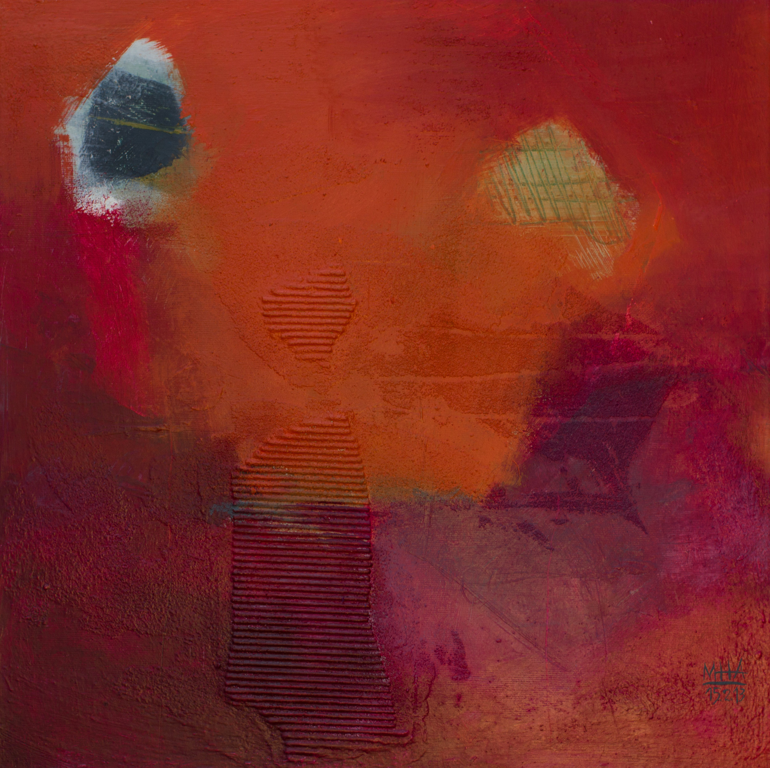 im Rot , 2012,Acryl auf Leinwand - Mischtechnik, 40x40 cm