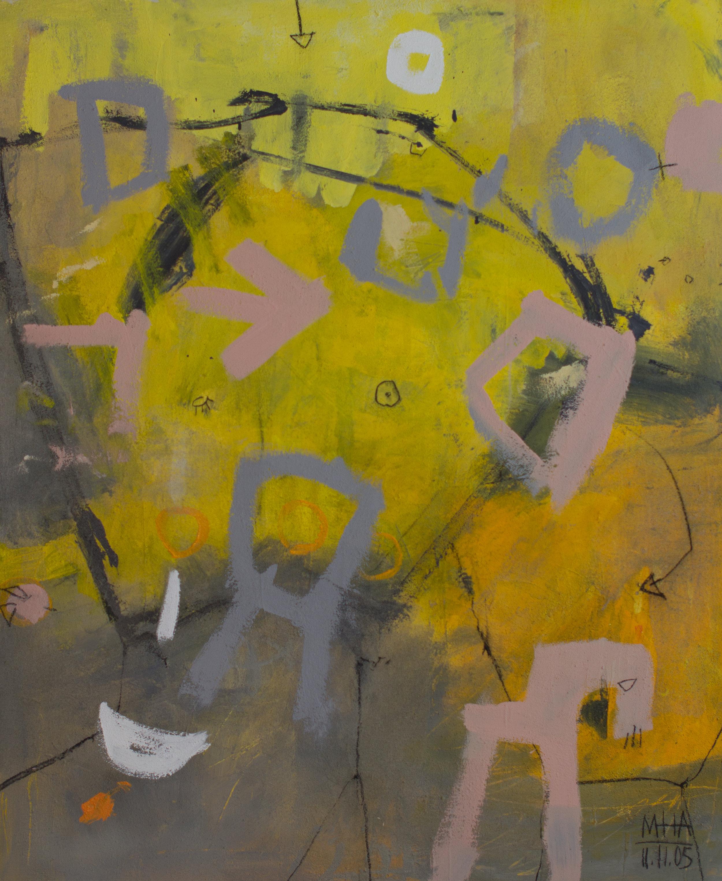 Im Kreis , 2005,Acryl auf Leinwand - Mischtechnik, 100x120 cm