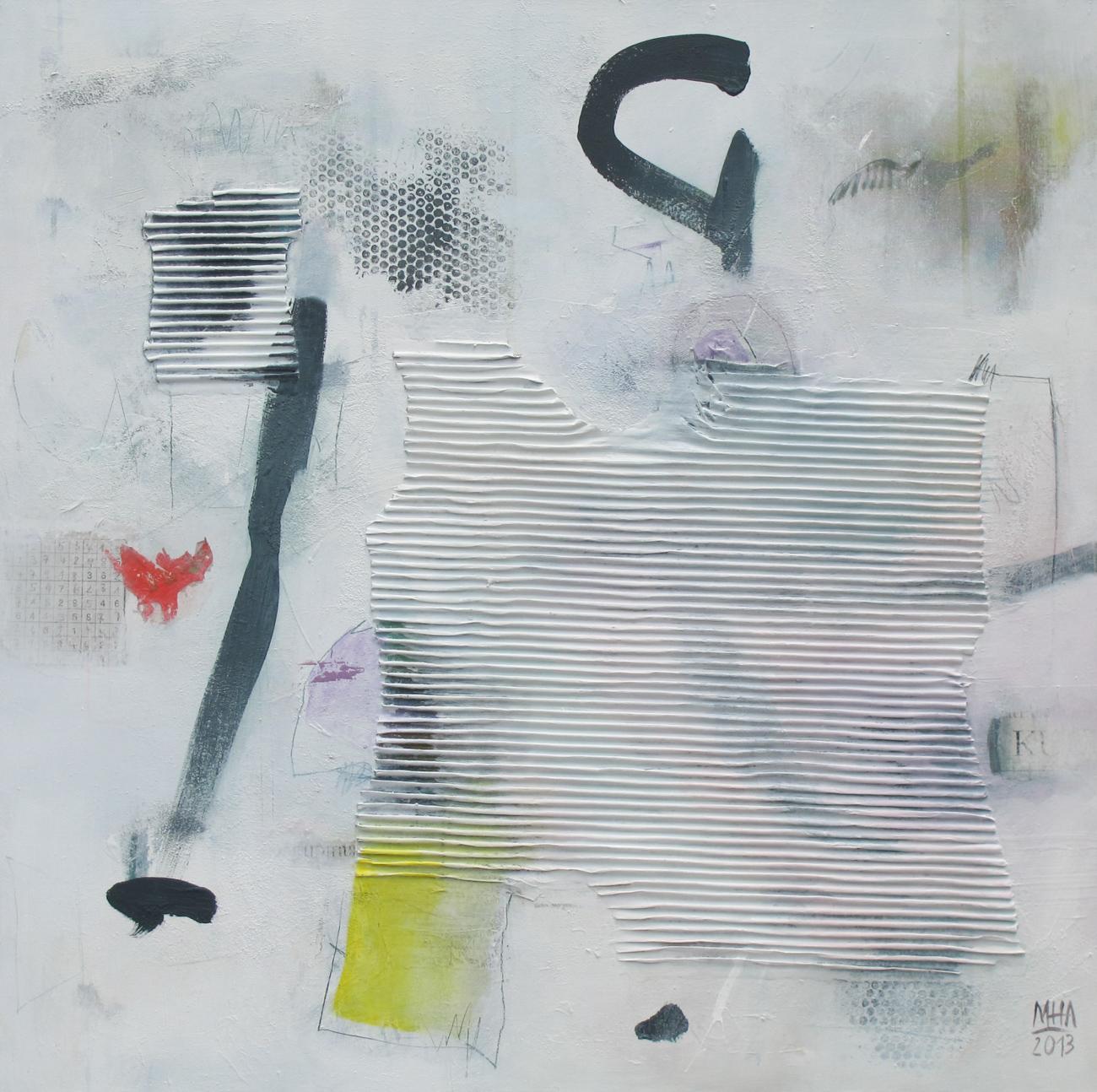 Sudoku ,2013,Collage mit Acryl auf Leinwand, 80x80 cm