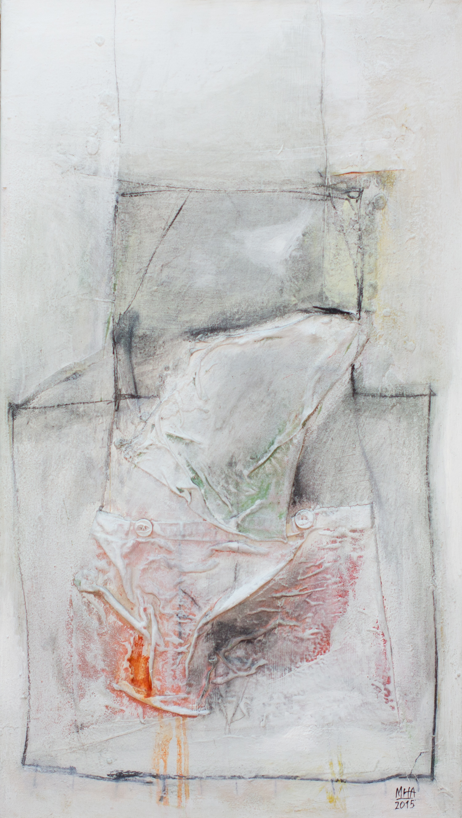 mit Knöpfen , 2007,Collage mit Acryl + Stoff auf Leinwand, 45x80 cm