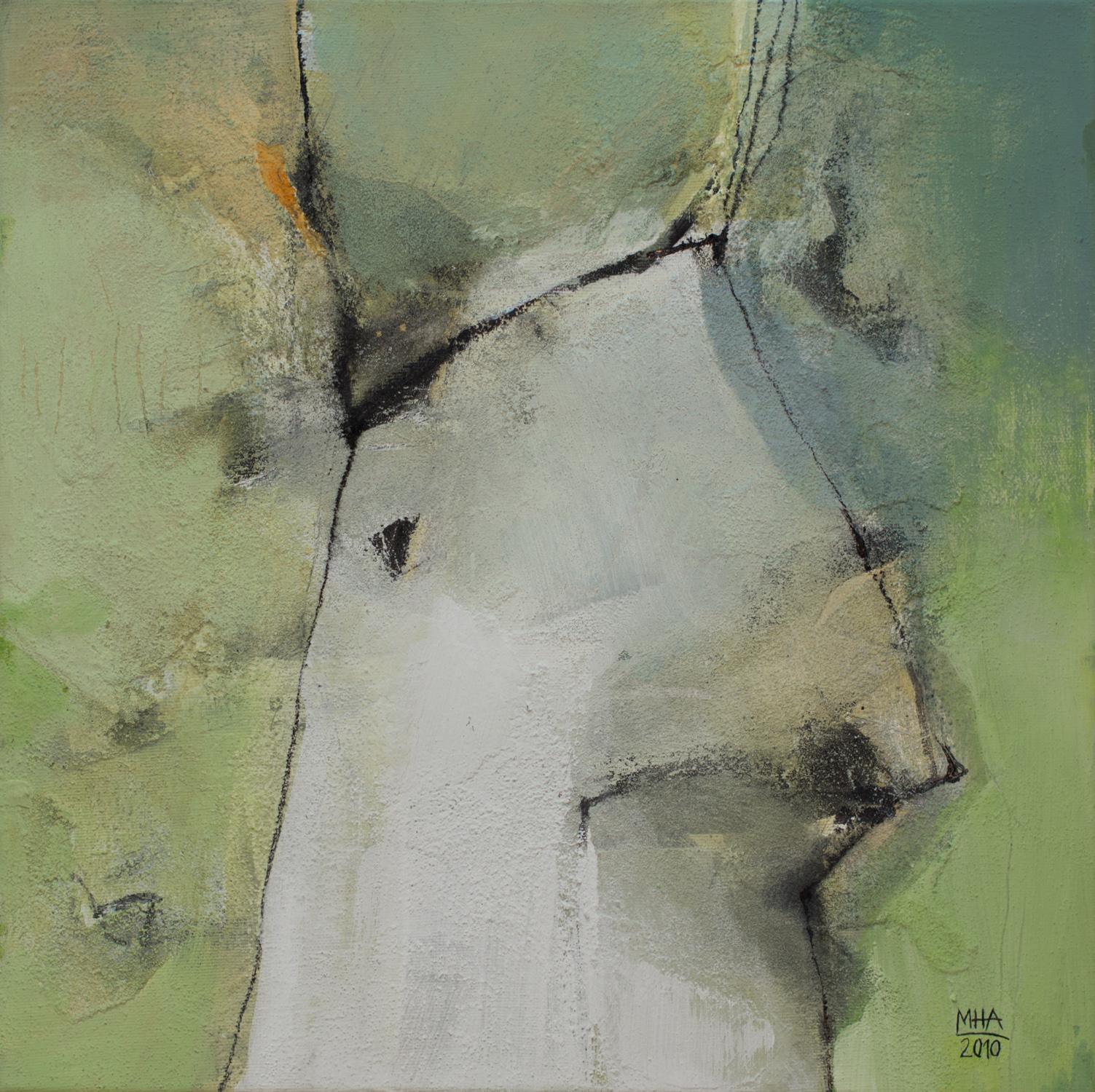 Kopf Nr. 2  ,  2011, Acryl auf Leinwand – Mischtechnik , 40x40 cm
