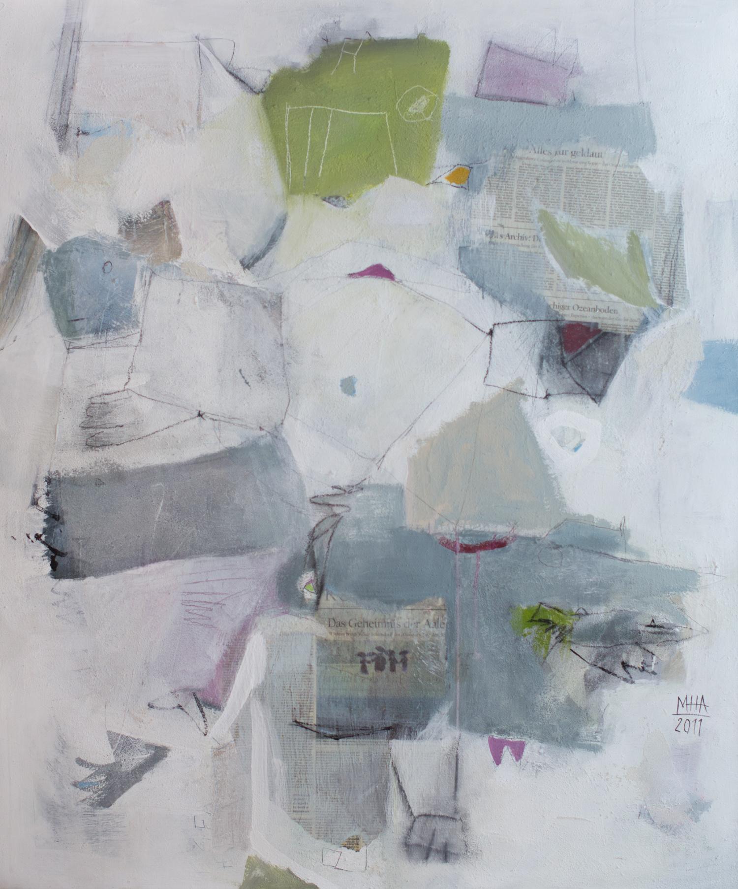 Geheimnis ,2011,Collage mit Acryl auf Leinwand, 100x120 cm