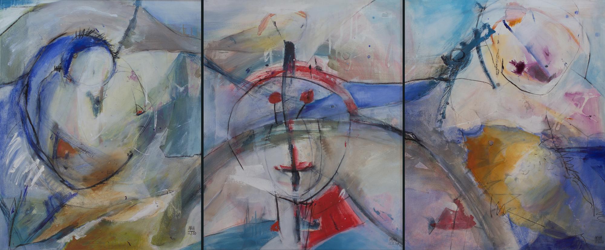 Triptychon:   Gestern,Heute,Morgen ,2000, Acryl auf Leinwand, je 80x100 cm