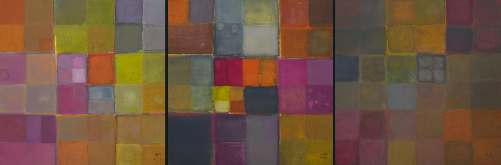 Triptychon: Vergangenheit, Gegenwart,Zukunft ,2014,Acryl auf Leinwand,je 60x60 cm