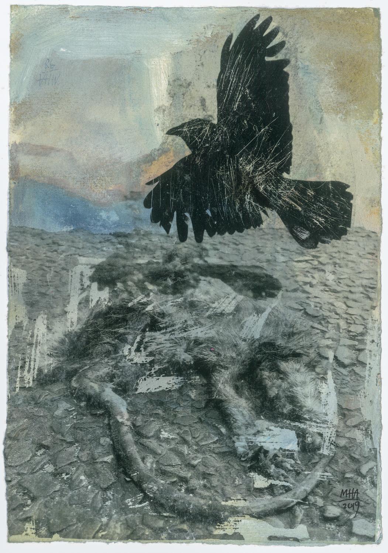 01 Krähen auf Papier, Abdrucktechnik, 16,5 x 24 cm, 2019
