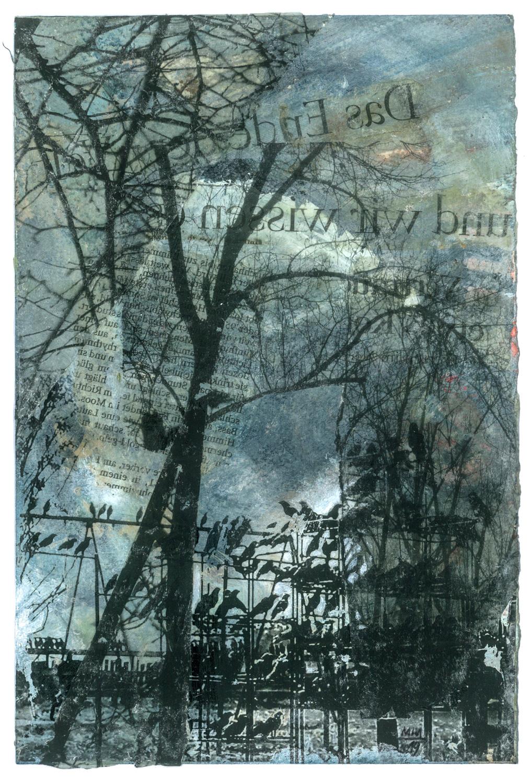 04 Krähen auf Papier, Abdrucktechnik, 16,5 x 24 cm, 2019
