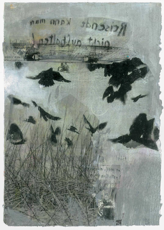 05 Krähen auf Papier, Abdrucktechnik, 16,5 x 24 cm, 2019