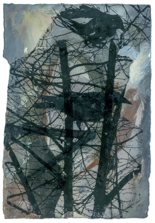 08 Krähen auf Papier, Abdrucktechnik, 16,5 x 24 cm, 2019