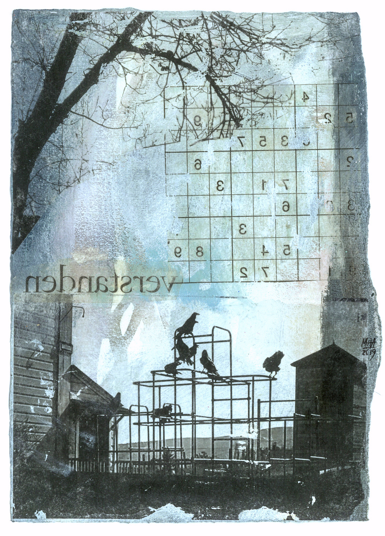 09 Krähen auf Papier, Abdrucktechnik, 16,5 x 24 cm, 2019