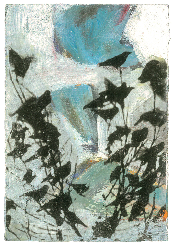 11 Krähen auf Papier, Abdrucktechnik, 16,5 x 24 cm, 2018