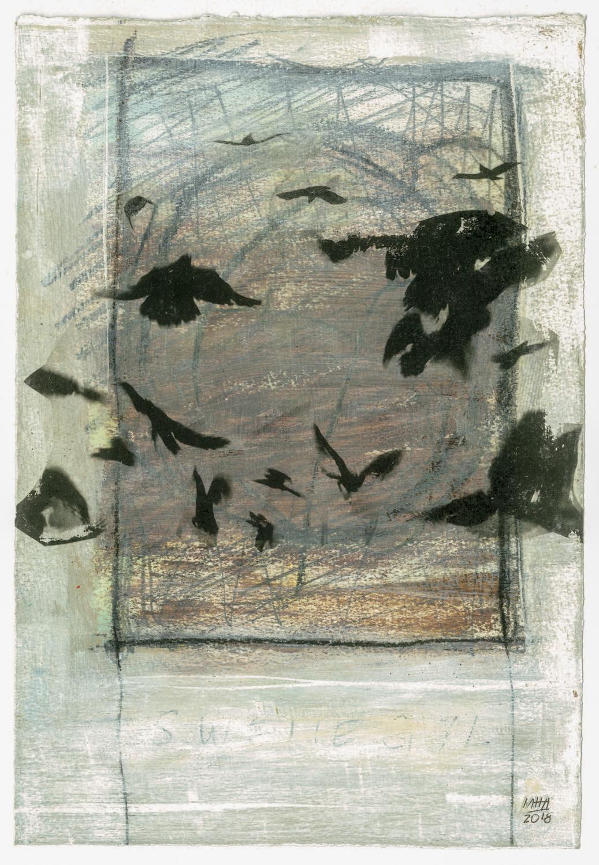 12 Krähen auf Papier, Abdrucktechnik, 16,5 x 24 cm, 2018
