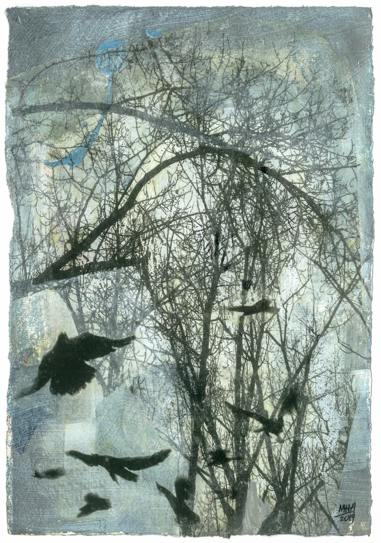 13 Krähen auf Papier, Abdrucktechnik, 16,5 x 24 cm, 2019