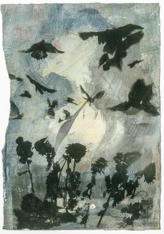 16 Krähen auf Papier, Abdrucktechnik, 16,5 x 24 cm, 2018