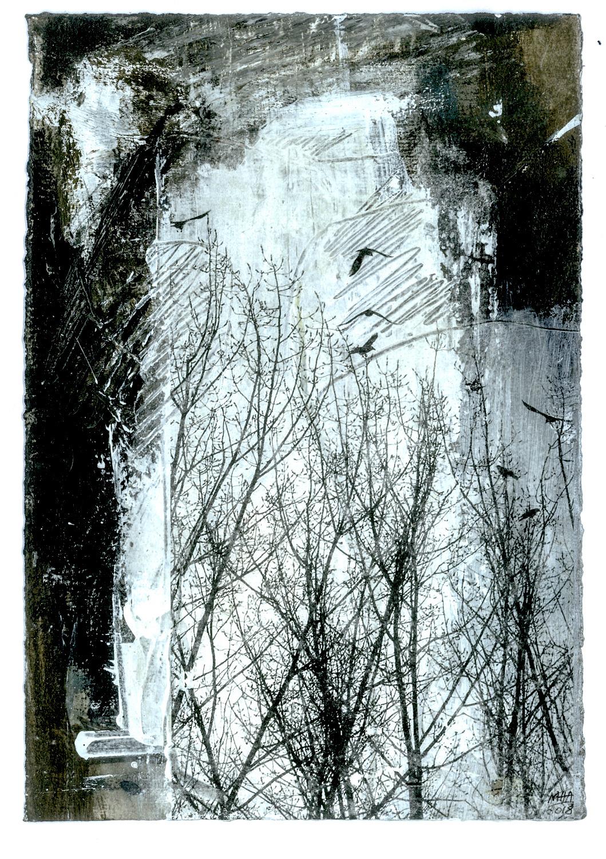 15 Krähen auf Papier, Abdrucktechnik, 16,5 x 24 cm, 2018