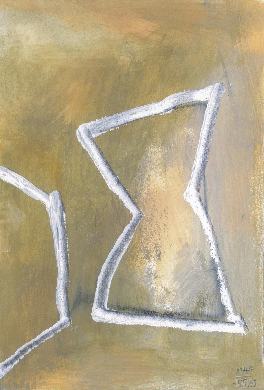 04  BEGEGNUNG, 2005, Acryl auf Papier, 15x23,5 cm