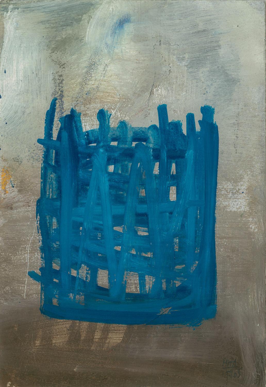 09  SITZEN, 2005, Acryl auf Papier, 15x23,5 cm
