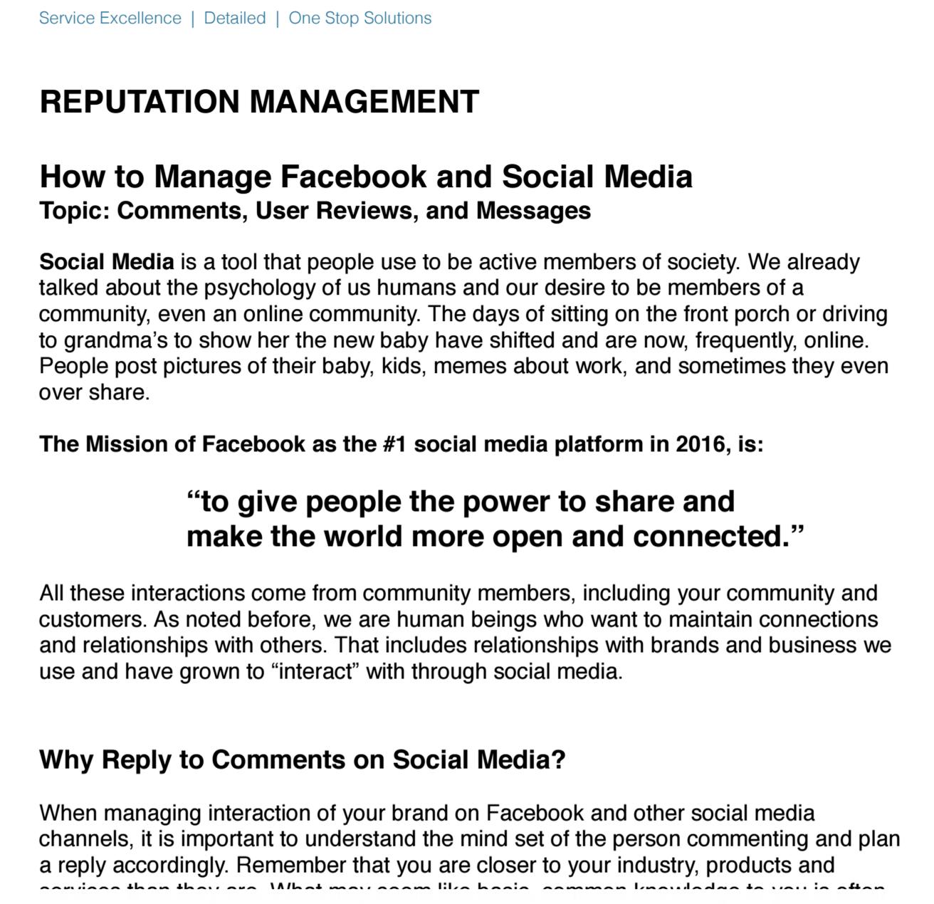 reputation management | social media | business partnership
